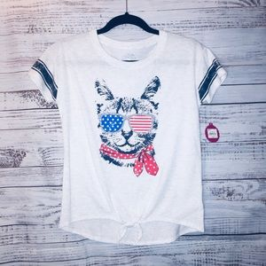 Cat with flag sunglasses T-shirt brand new w tags